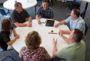 The Leadership Team meets at The Village Christian Church in Minooka, Illinois to plan what's next for the church.