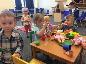 Kid Village at The Village Christian Church has a high energy toddler classrroom. The kids are learning about Jesus in a safe and fun environment.