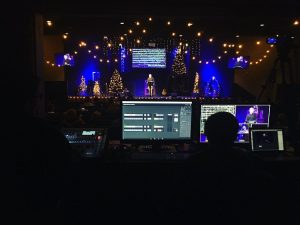 The tech team makes sure all goes smoothly with worship services at The Village Christian Church in Minooka, Illinois